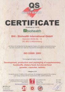 Certificate BHI ISO-22000